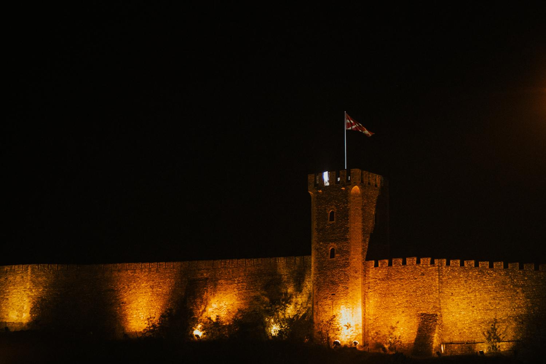Skopje fortress illuminated in orange