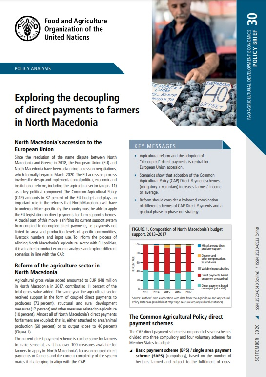 Exploring the decoupling of direct payments to farmers in North Macedonia