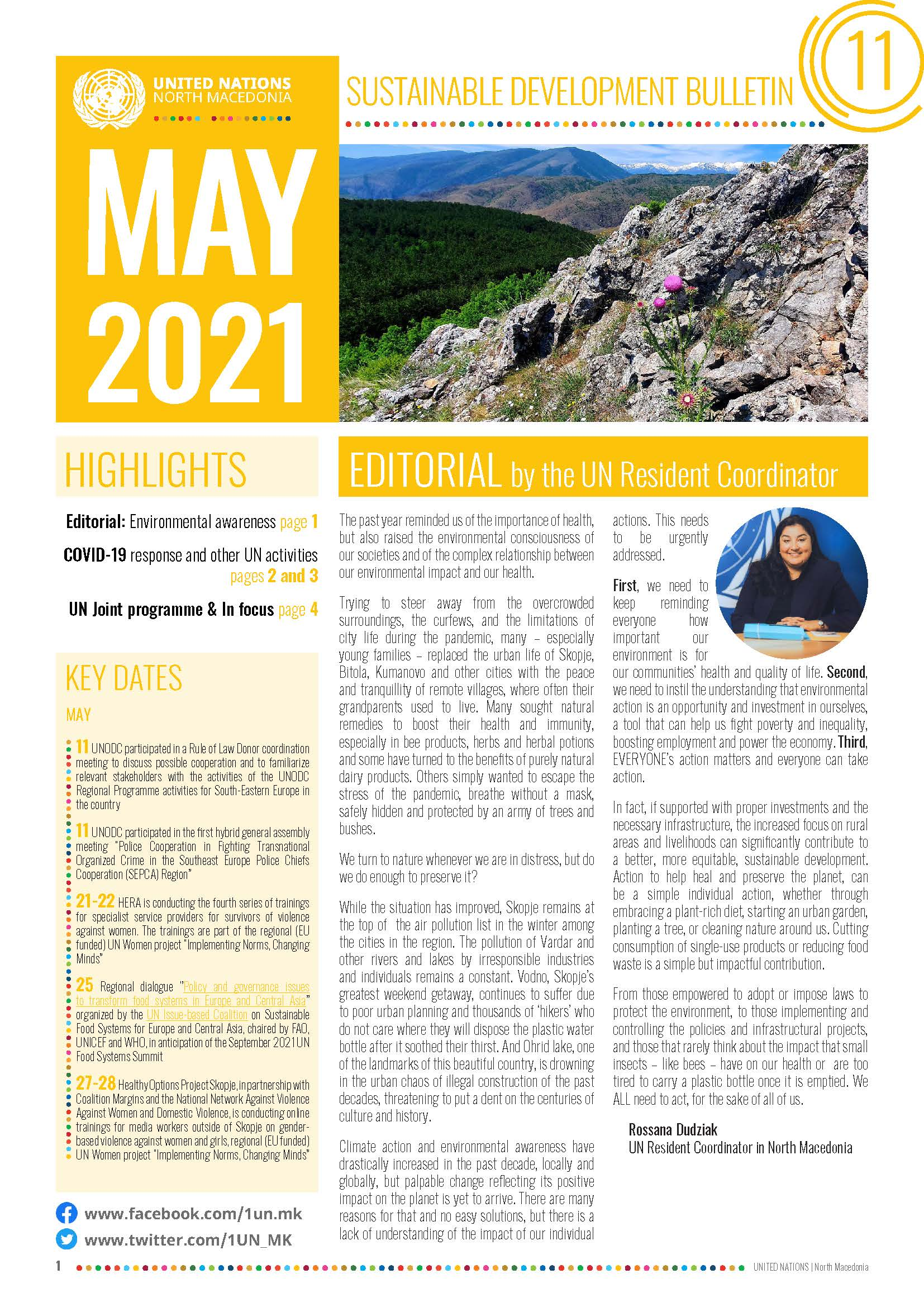 Front page of the May Sustainable Development Bulletin