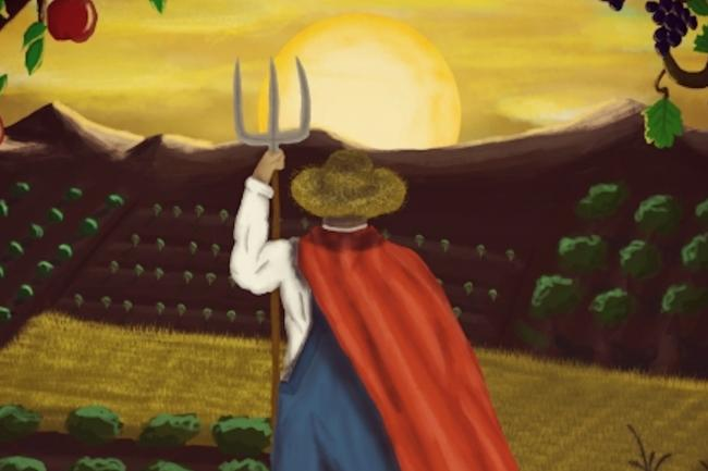 Illustration of a farmer looking at the fields with various crops