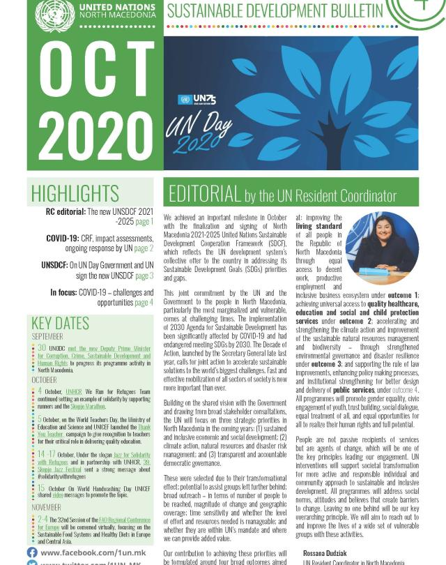 Front page of the October bulletin
