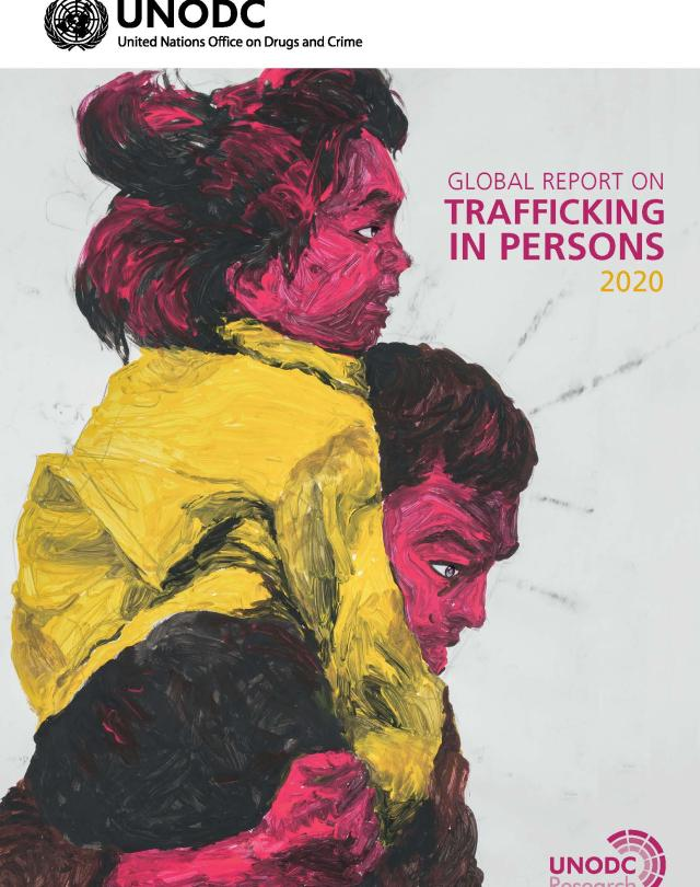 Front page of the publication containing a person carrying a child