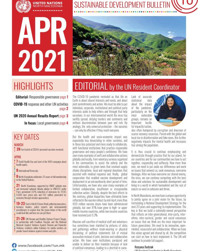 A front page of the Sustainable Development Bulletin for April 2021